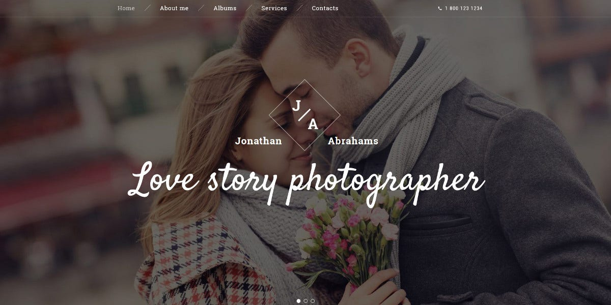 Wedding Photographer Portfolio Website Template $75