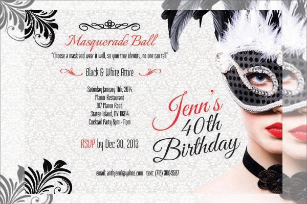 Masquerade Birthday Invitation Cards Set