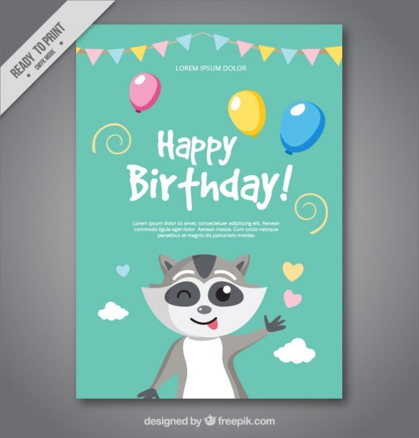 Nice Birthday Free Card with a Raccoon