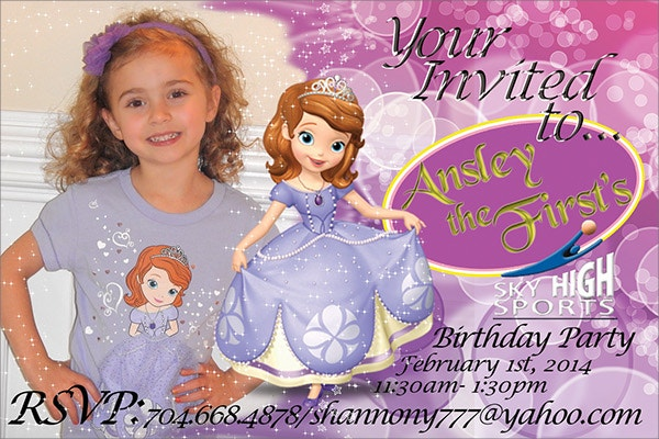 Cute Little Girl Free Birthday Invitation Card