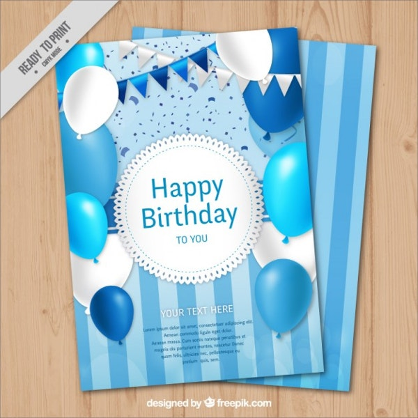 Blue Color Birthday Card With Balloons Garlands