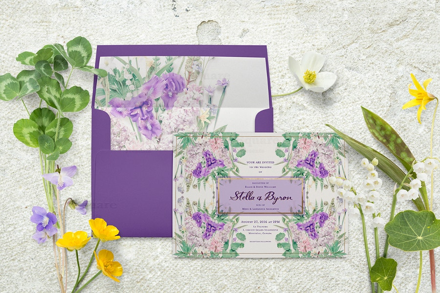 square envelope mockup with flowers