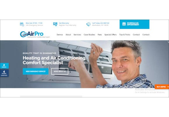 air conditioning wp theme for maintenance services