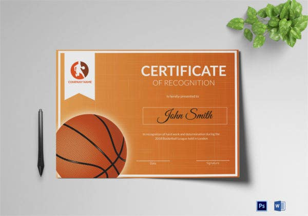 Award Presentation Certificate for Basketball Team