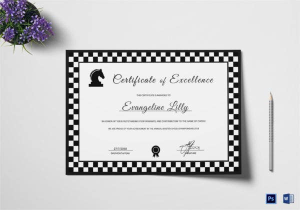Black and White Chess Excellence Certificate