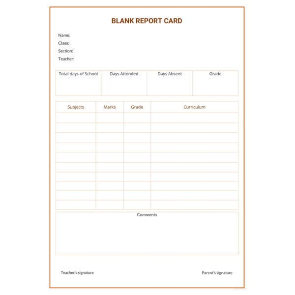 blank report card