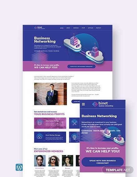 business networking wordpress themetemplate