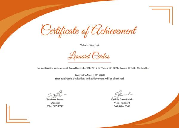 certificate of achievement template1