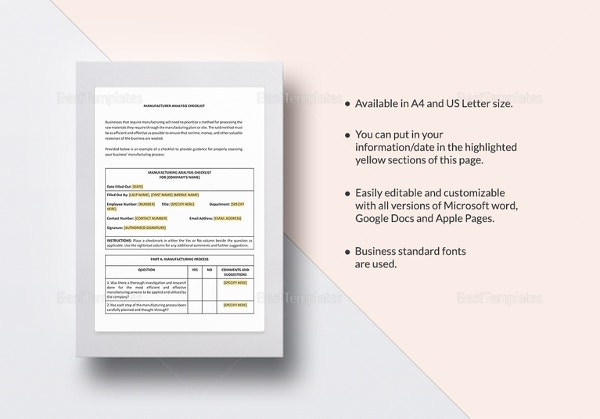 checklist-manufacturer-analysis-template