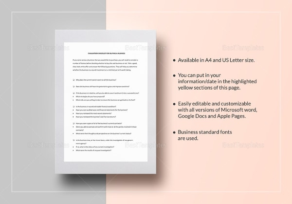 checklist sale of a business template