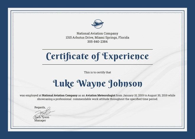 company-experience-certificate-template