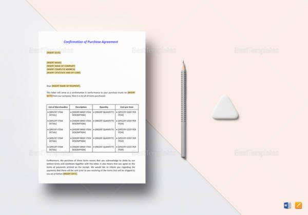 confirmation of purchase agreement letter template