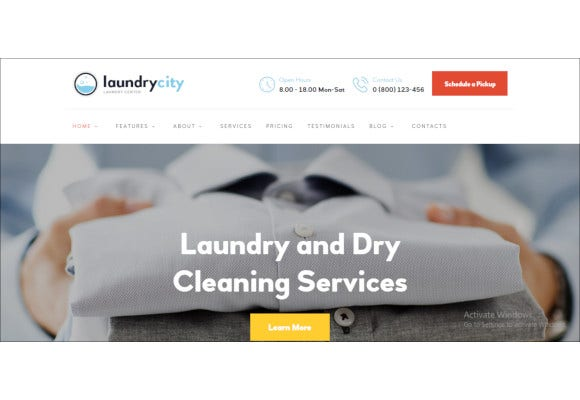 dry cleaning laundry services wordpress theme