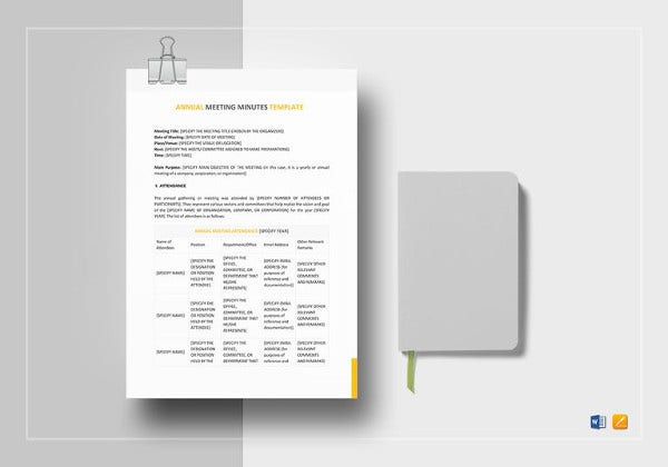 easy to edit annual meeting minutes template