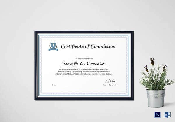 certificate of completion 25 free word pdf psd
