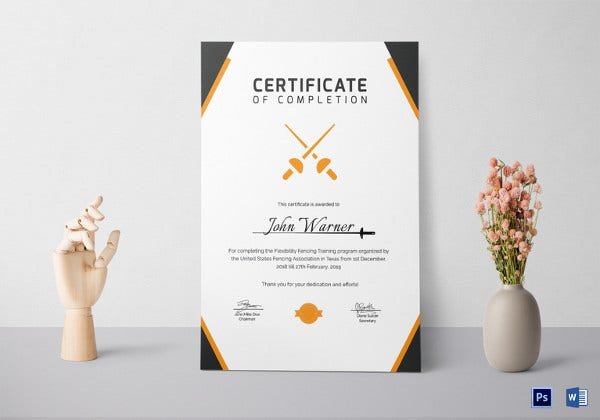 fencing-completion-certificate-template