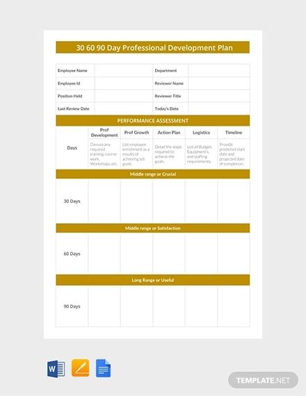 free 30 60 90 day professional development plan template