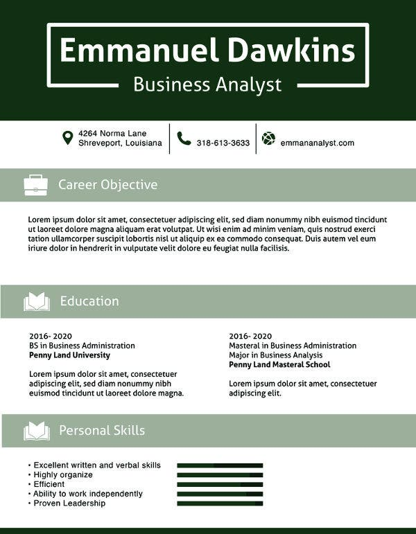 free analyst resume template
