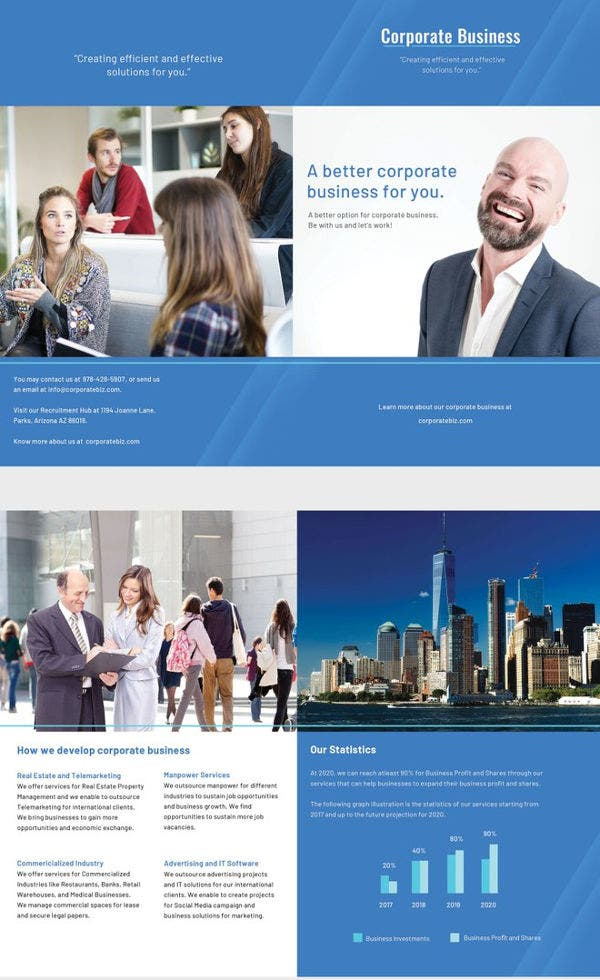 free corporate bifold brochure template
