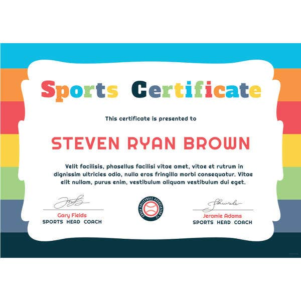 free kids sports award certificate templatefree download