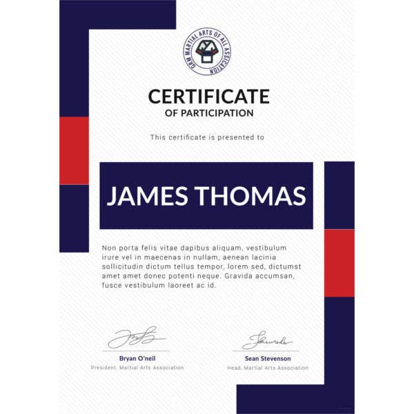 free martial arts award certificate templatefree download
