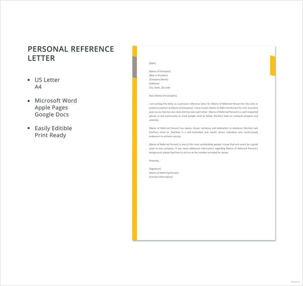 free personal reference letter template