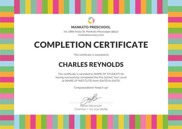 free-preschool-completion-certificate-template