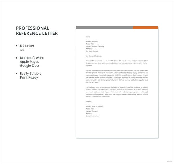 free professional reference letter template