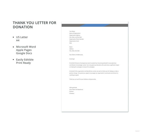 10 thank you letters for donation free sample example format free thank you letter for donation template spiritdancerdesigns Gallery