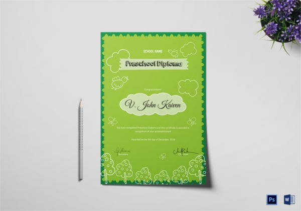 Preschool Award Certificate Template Download