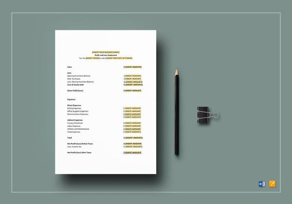 profit  u0026 loss statement template
