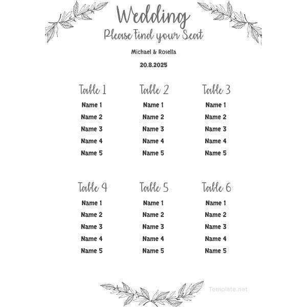 printable wedding seating chart template