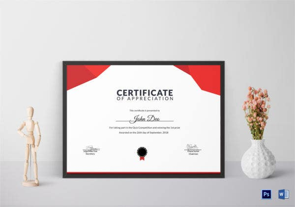 prize appreciation certificate