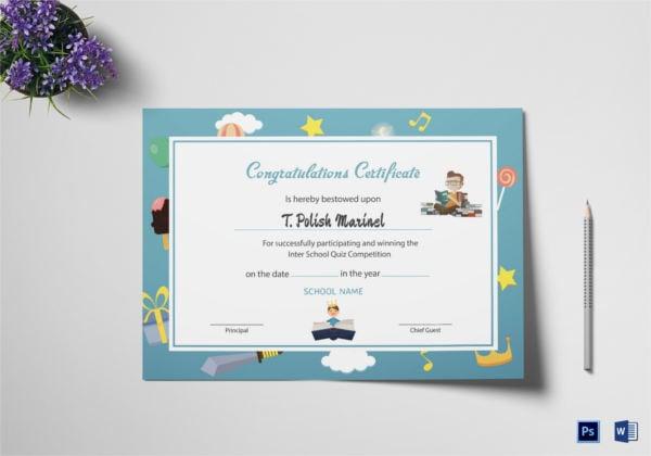 reading award congratulations certificate