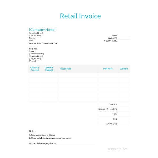 retail invoice template