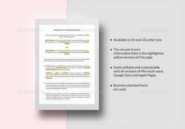 sample promissory note with acceleration clause template in word