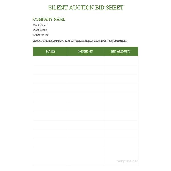 sample silent auction bid sheet template