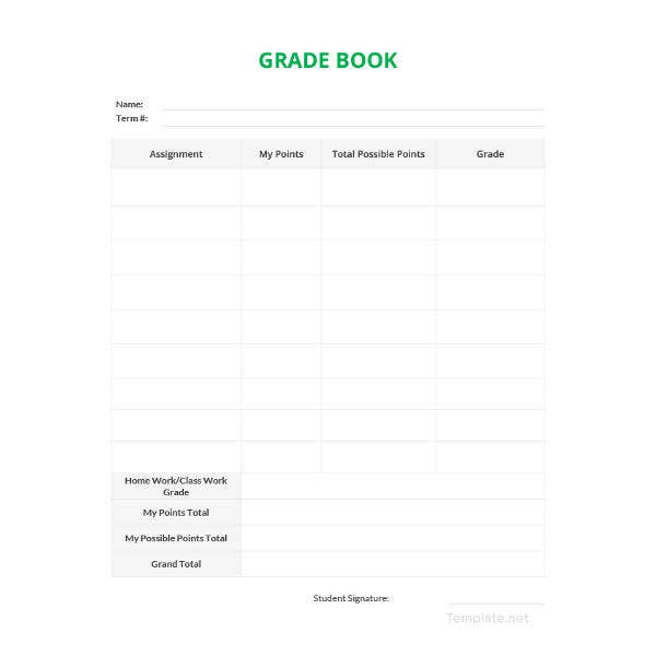 simple grade sheet template