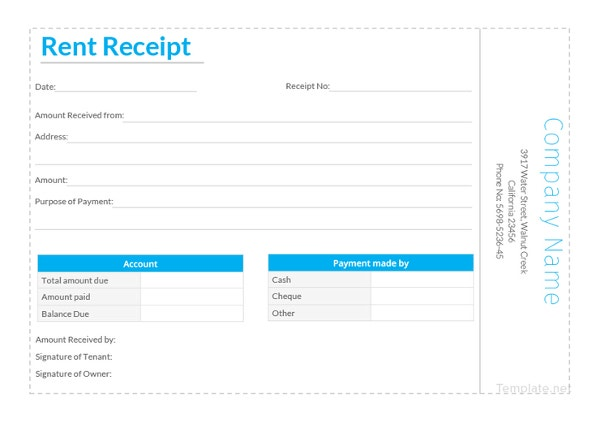 simple rent receipt template