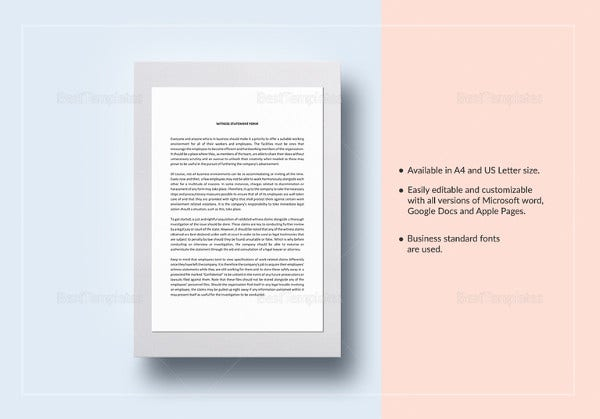 simple witness statement template in word
