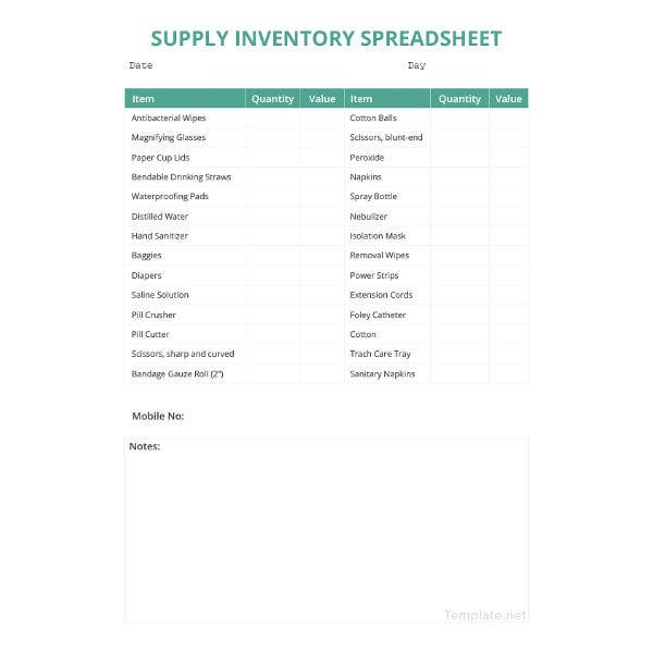 supply inventory spreadsheet template