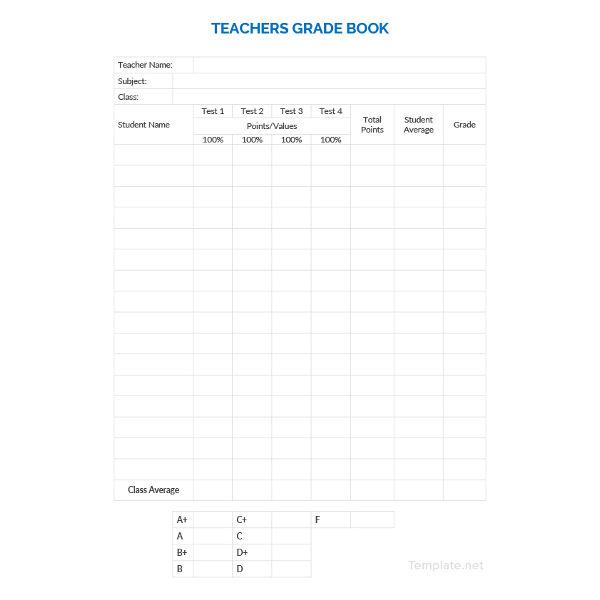teacher grade sheet template