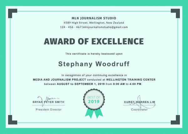 Training Excellence Award Certificate