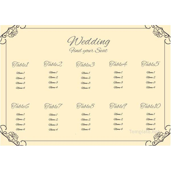vintage wedding seating chart template1