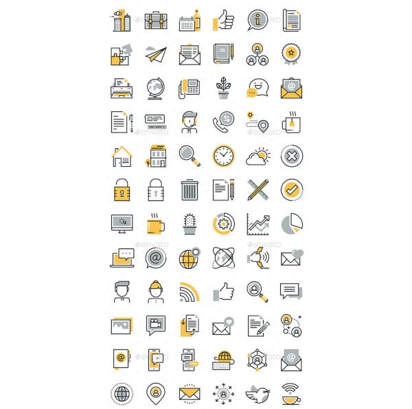 wow thin line flat design icons bundle
