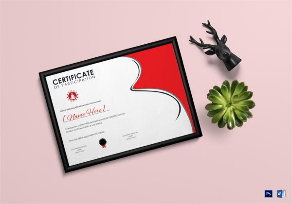 yoga award certificate template