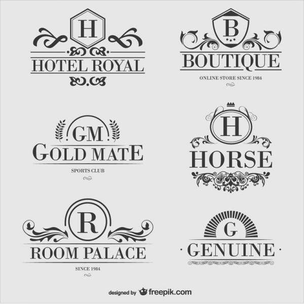 Heraldic Hotel Logos Set