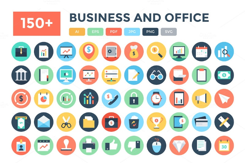 150 flat business and office icons collection