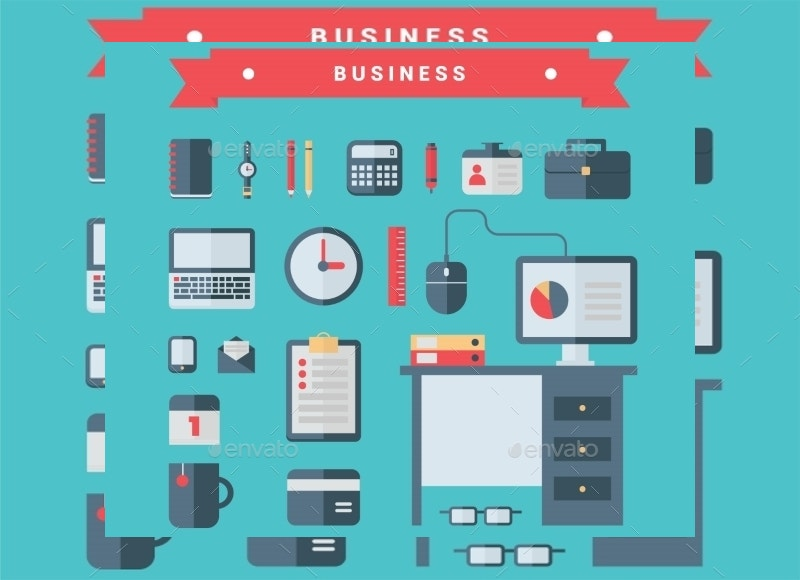 flat business icons on blue background