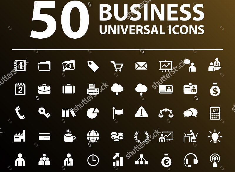 vector illustration 50 business icons